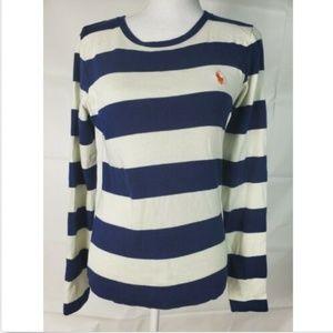 Ralph Lauren Sport Sz Large Blue White Stripe Logo